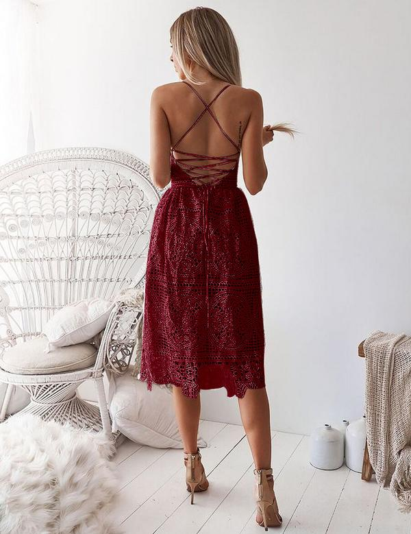 Burgundy Sexy Slip Backless Lace-Up Back Lace Mini Dress