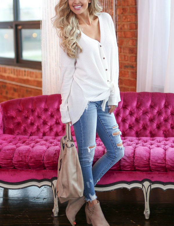 Casual Irregular Solid Button Long Sleeve Cardigan