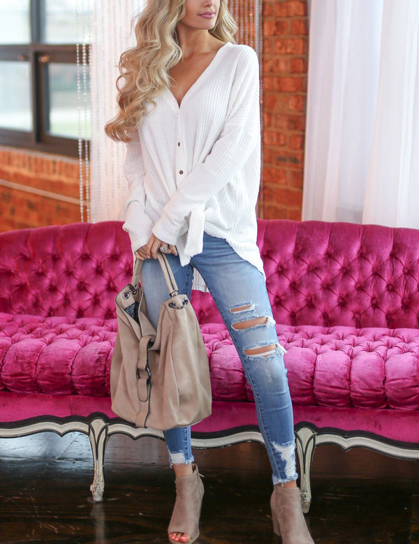 Casual V-Neck Irregular Solid Long Sleeve Cardigan