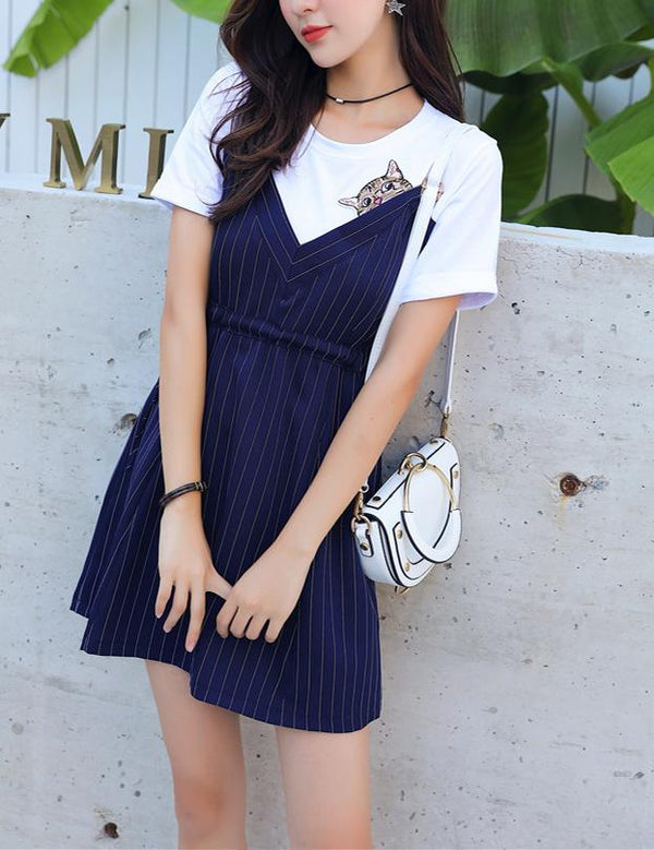 Causal Short Sleeve Slim Waist Navy Striped Mini Dress