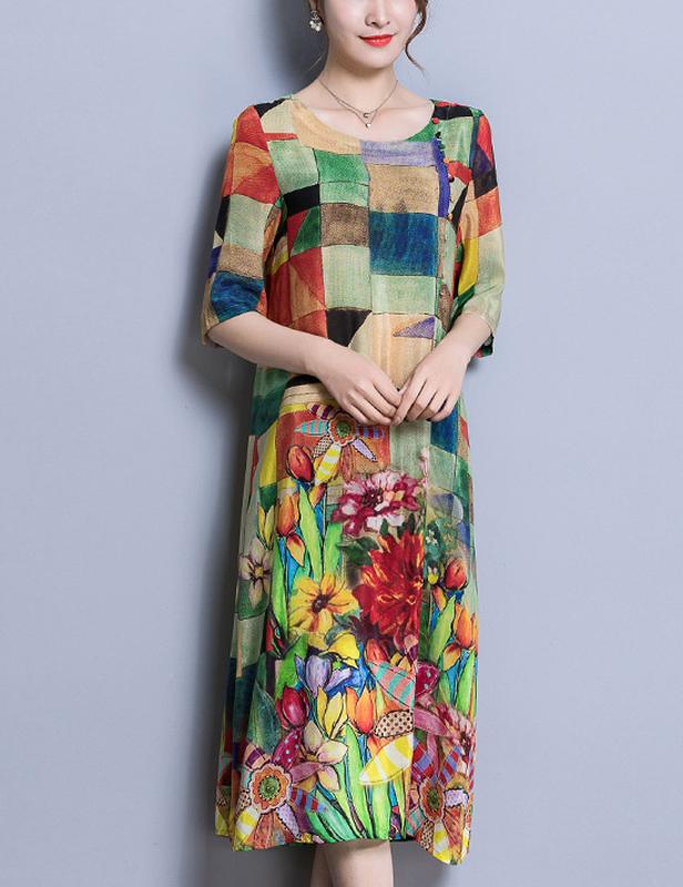 Chinese Style Multicolor Plaid Floral Print Long Sleeve Midi Dress