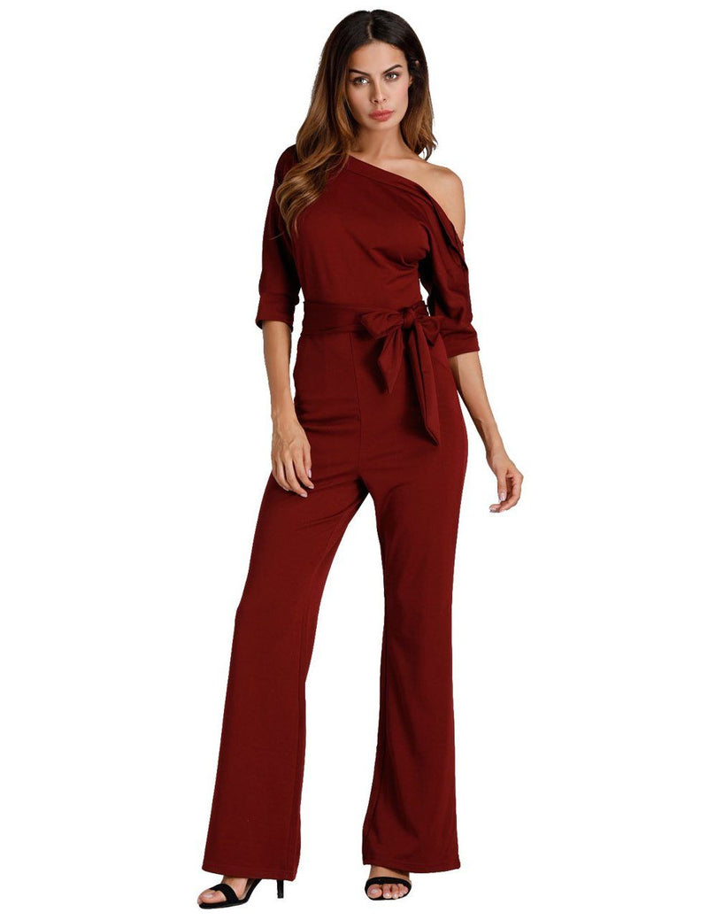 Classic Solid Color Oblique One Shoulder Button Wide-Leg Jumpsuit