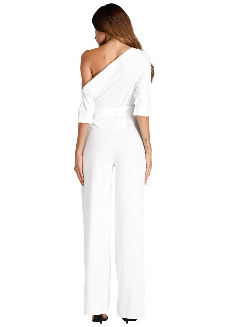 Classic White Oblique One Shoulder Button Wide-Leg Jumpsuit