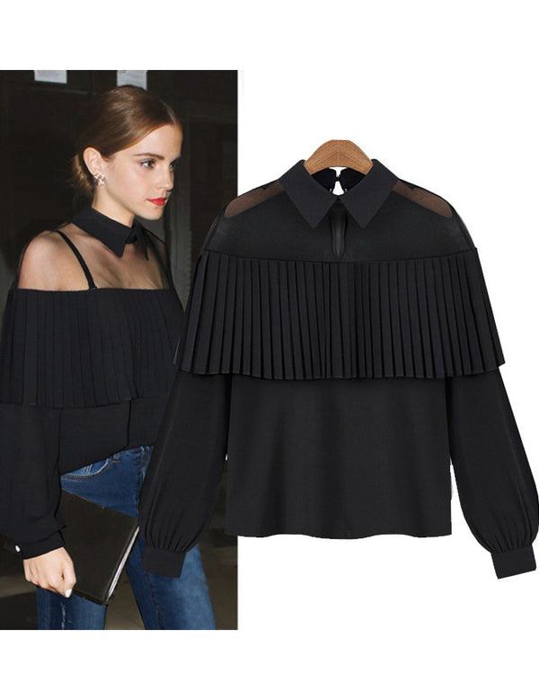 Collar Cape Shoulder Pleat Long Sleeve Chiffon Top