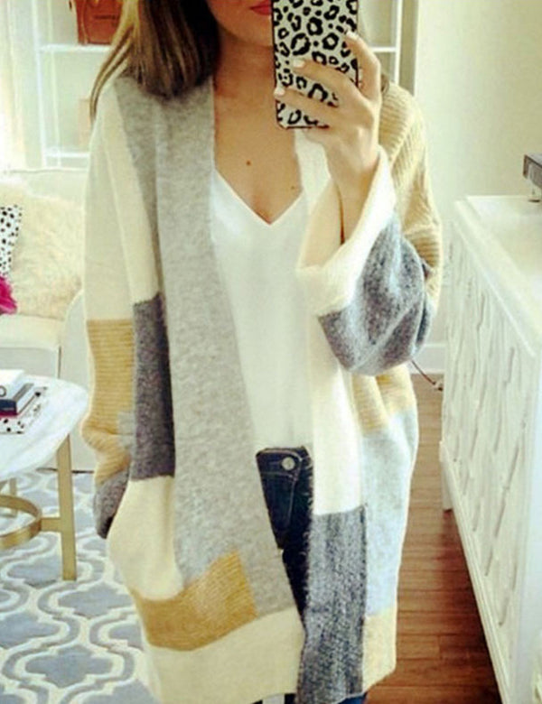 Color Block Long Sleeve Casual Mid-Length Sweater Cardigan