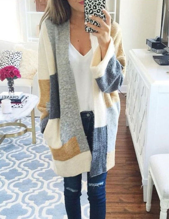 Color Block Long Sleeve Loose Casual Mid-Length Sweater Cardigan