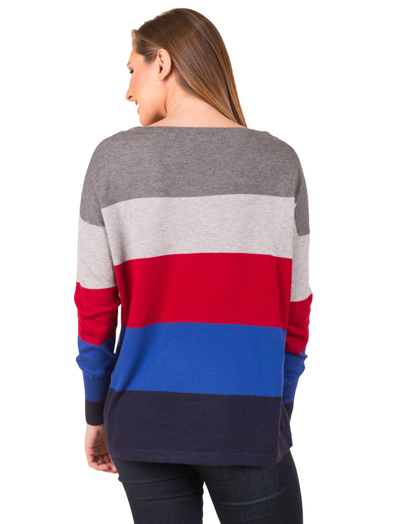 Color Stitching Round Neck Long Sleeve Casual Knited Sweater