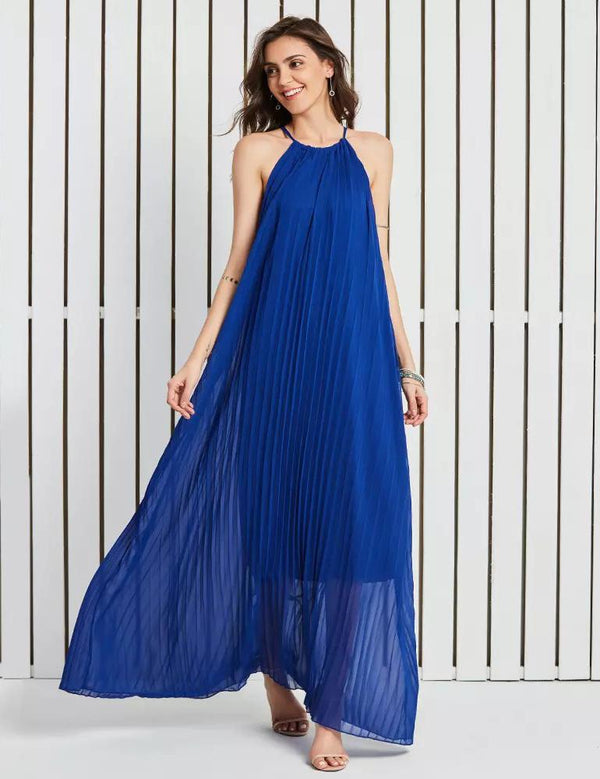 Boho Beach Halter Royal Blue Pleated Chiffon Dress Maxi Dress
