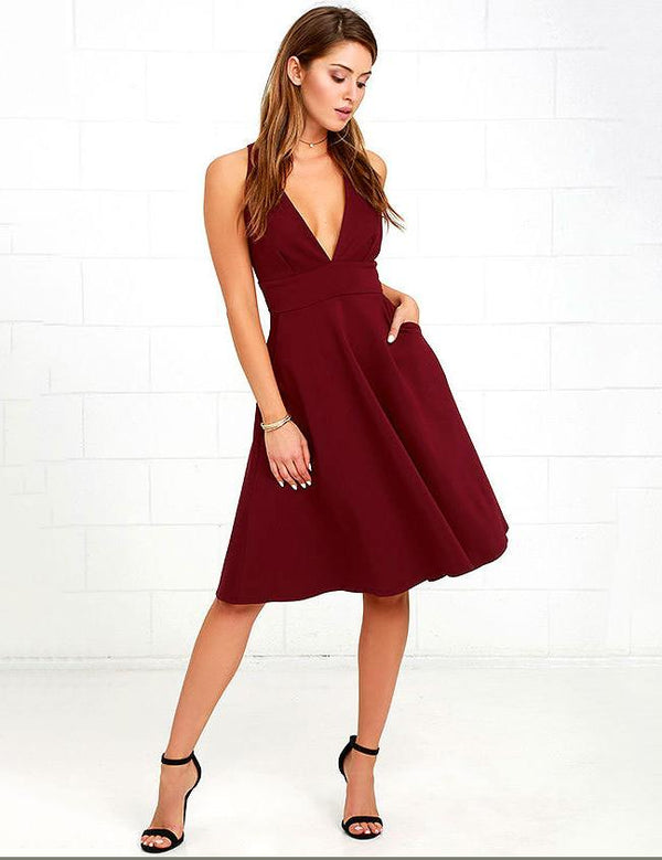 women v-neck party dress