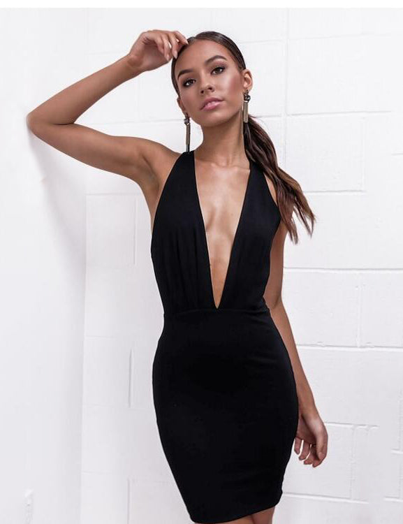 Deep V Neck Halter Backless Black Mini Dress
