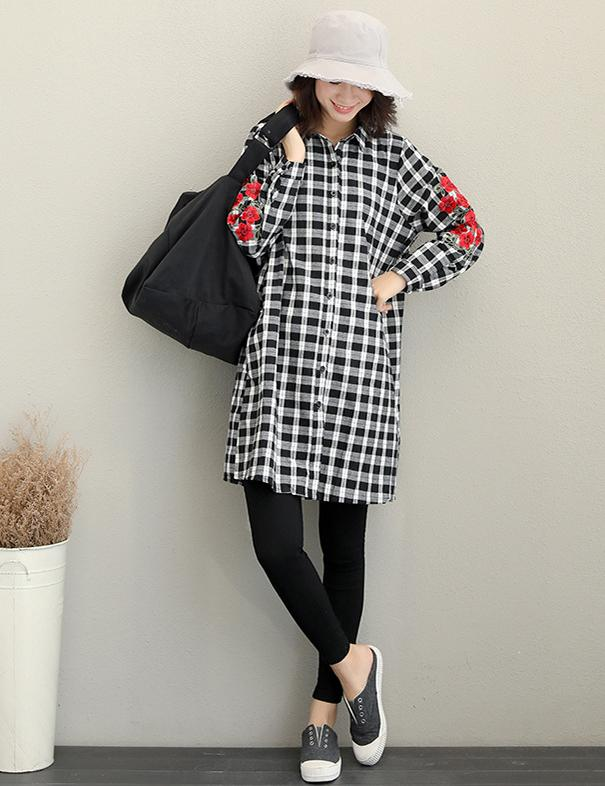 Embroidered Long Sleeved Casual Loose Long Plaid Blouse