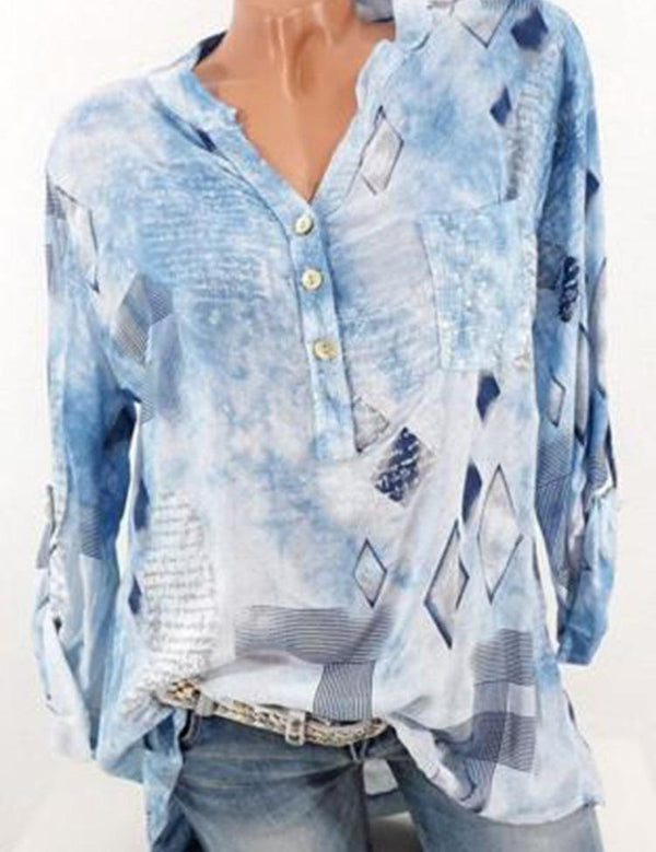 V Neck Casual Printed Shirts