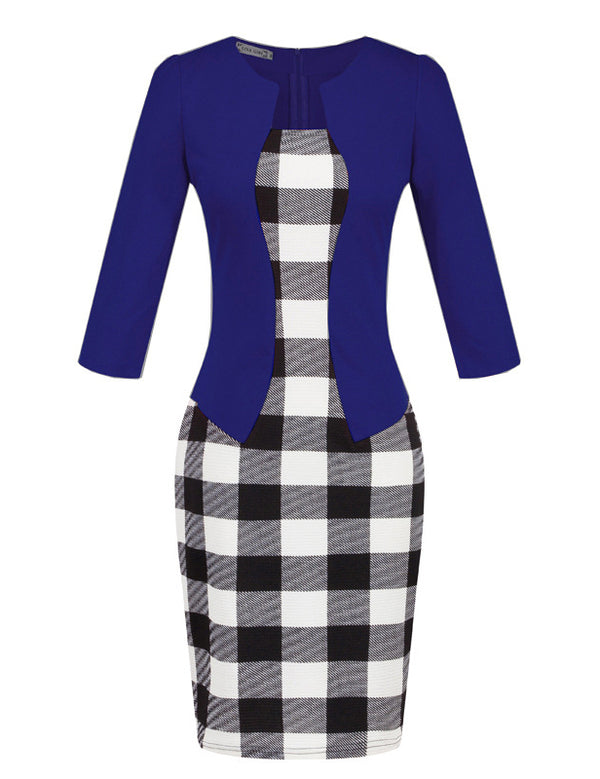 Fake Two-Piece Women's Plaid Pencil Blue Work Dress with Belt