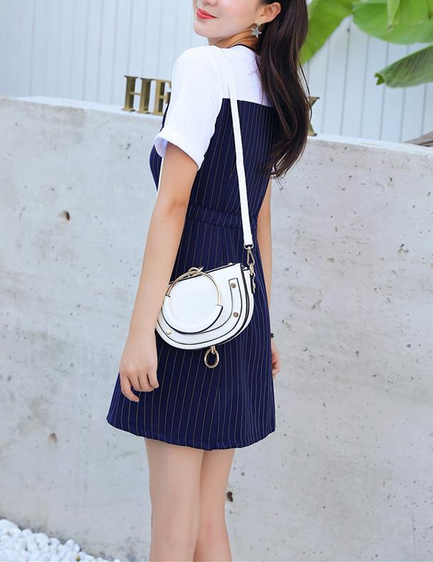Fake Two Piece Short Sleeve Slim Waist Navy Striped Mini Dress