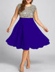 Plus Size Sparkly  Sequins Stitching Royal Blue Party Midi Dress