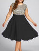 Fashion A-Line Round Neck Sleeveless Sequins Stitching Dress