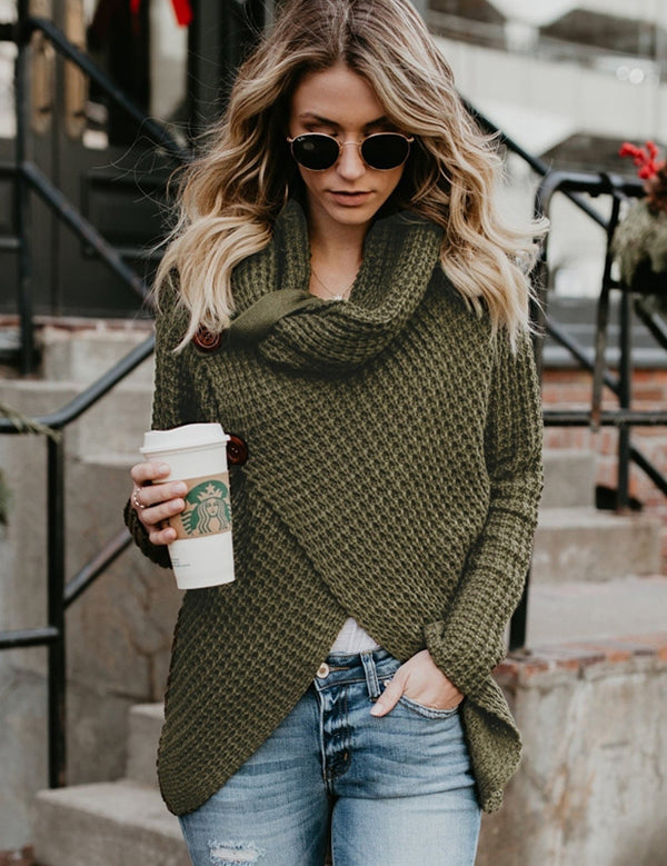 Fashion Turtleneck Irregular Hem Long Sleeve Casual Sweater