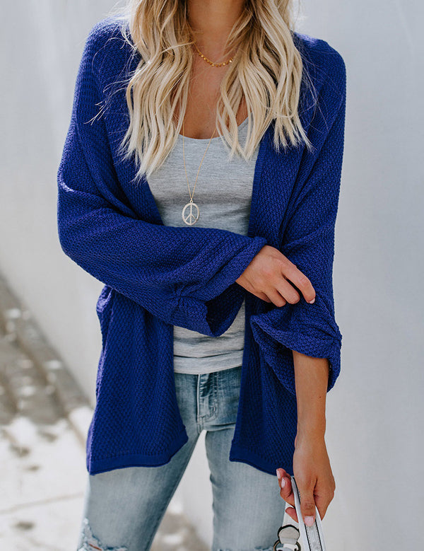 Fashion Solid Color Loose Casual Knit  Sweater Cardigan Coat