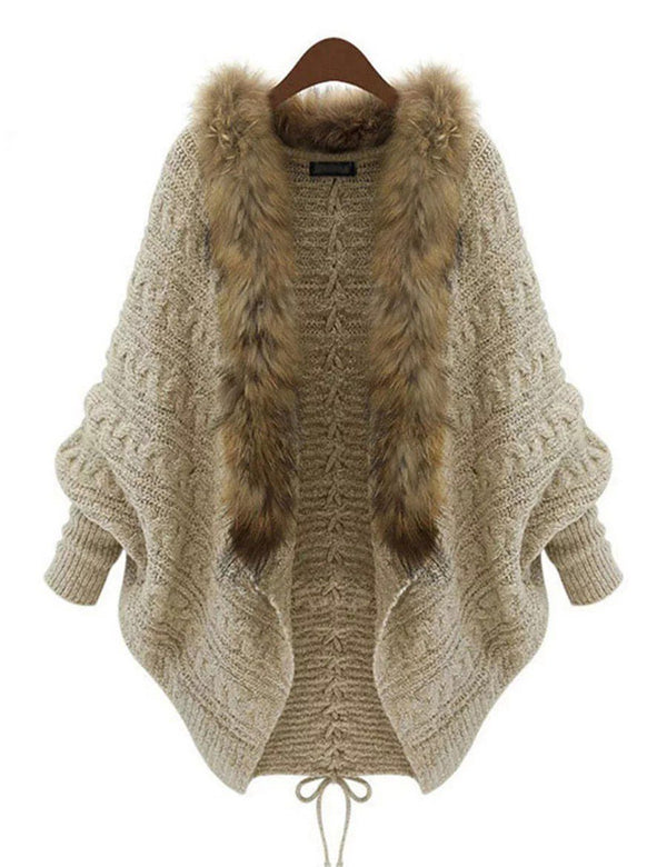 Fluffy Collar Knitted  Cardigan