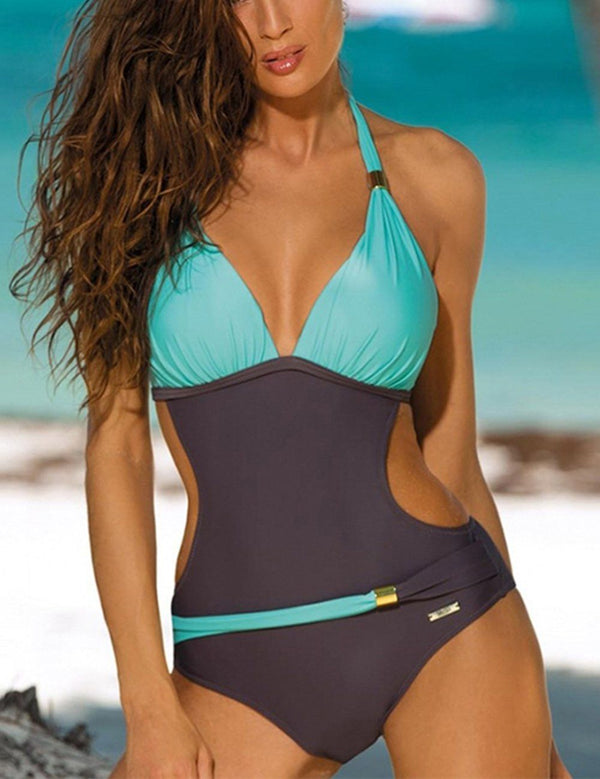 Colorblock One Piece Swimsuit - Fancyqube