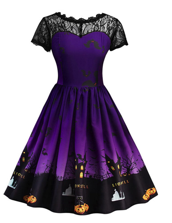 Plus Size Fashion Short Sleeves Printed Lace Insert Halloween Dress