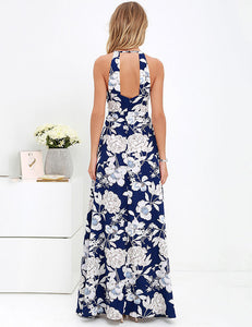 Halter Open Back Floral Printed Bodycon Maxi Dress