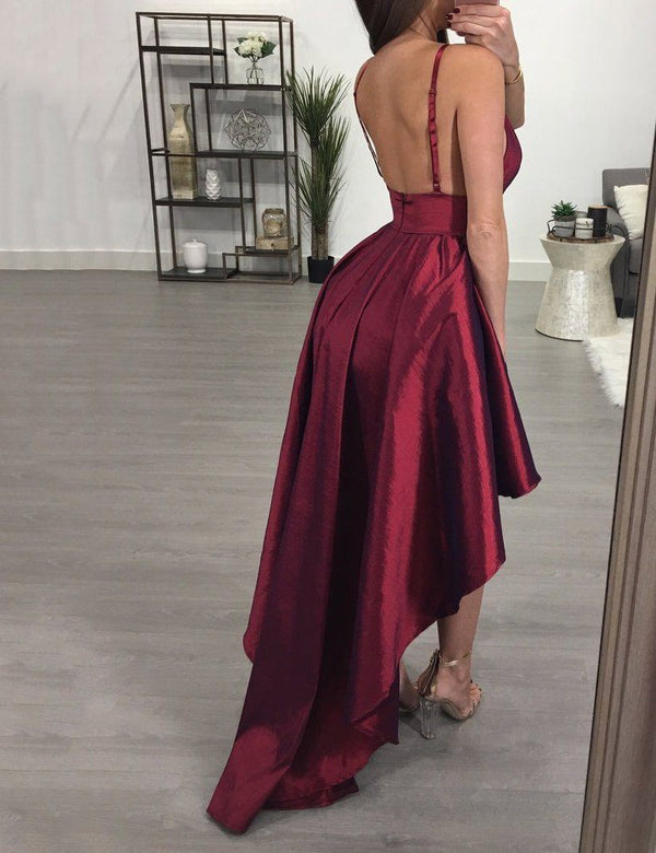 women high-low burgundy homecoming dress