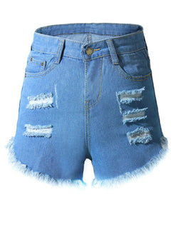 Hole washed round-edged High-waisted tight-fitting denim hot-shorts - Fancyqube