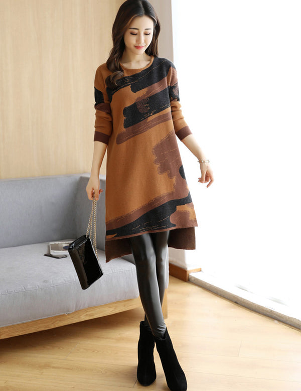 Long Sleeve Round Neck Loose Printed Knit Wear Dress
