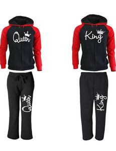 King Queen Crown Couple Hooded Two Pieces Sweatshirt & Sweatpant