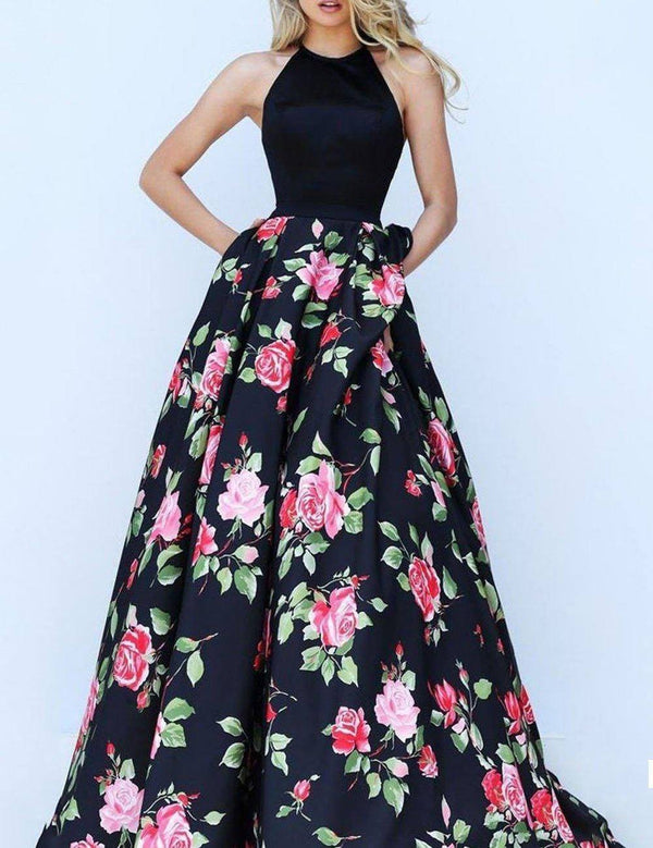 Halter Floral Printed Backless with Train Prom Party Maxi Dress