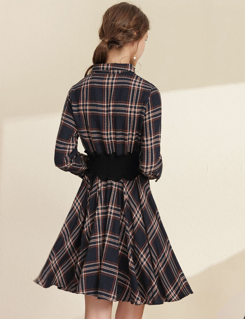 Lapel Elastic Waist Long Sleeved Casual Navy Plaid Dress