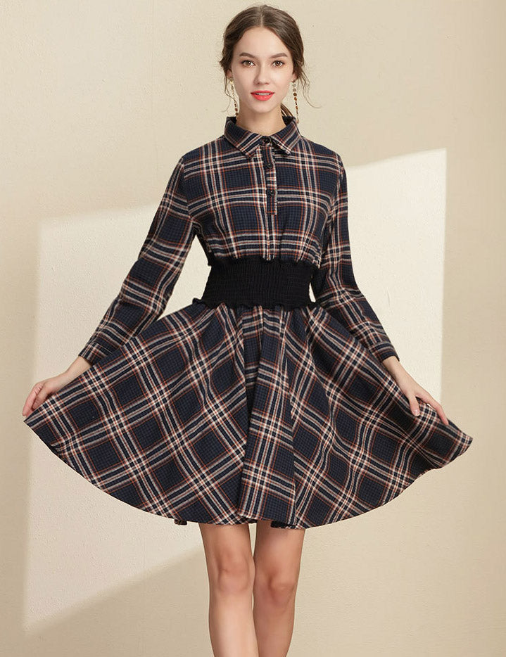 Lapel Elastic Waist Navy Plaid Long Sleeved Casual Dress