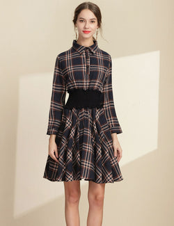 Lapel Elastic Waist Navy Plaid Long Sleeved Casual Midi Dress