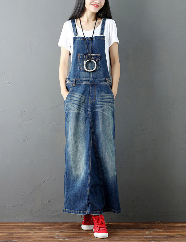 Literary Retro A-line Straps Pockets Blue Denim Long Dress