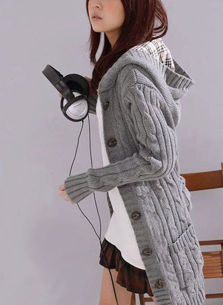 Long Sleeve Belt Hooded Casual Mid-Length Knit Cardigan Sweater