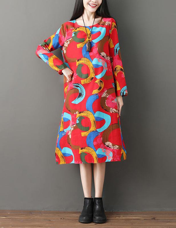 Plus Size Long Sleeve Ethnic Print Pockets Casual Cotton Linen Dress