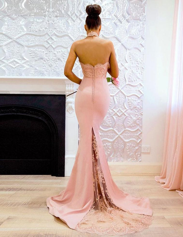 Mermaid Halter Backless with Lace Sheath Prom Dress