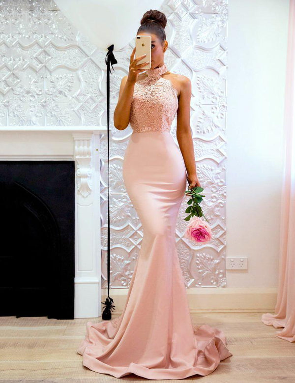 Mermaid Halter Backless with Lace Train Sheath Prom Dress