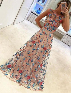 Mesh Floral Embroidery Maxi Dress