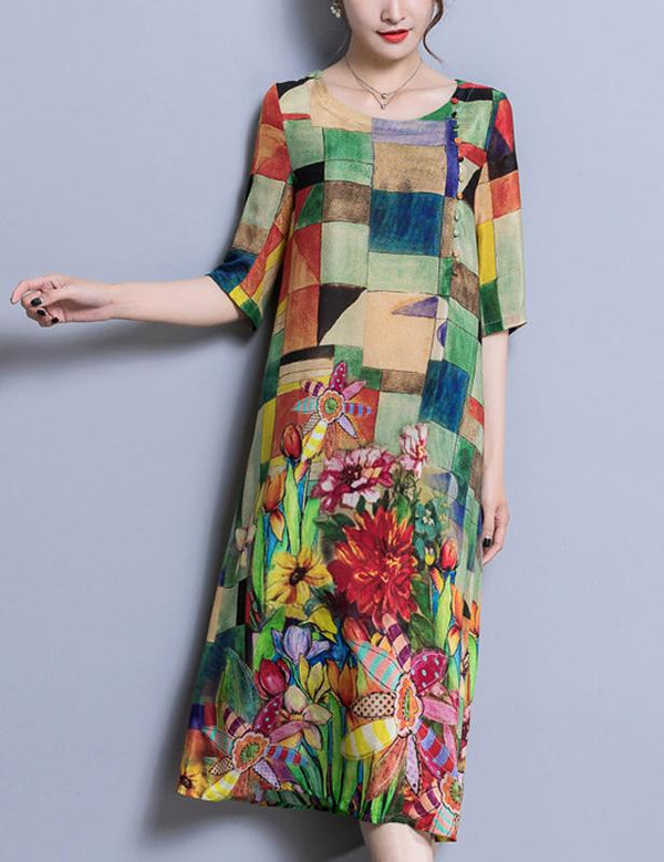 Multicolor Plaid Floral Print Long Sleeve Midi Dress