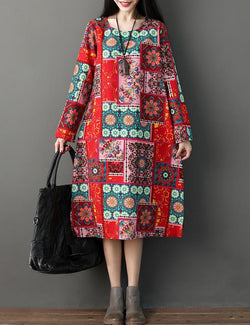 National Style Long Sleeved Printed Cotton Midi Dress