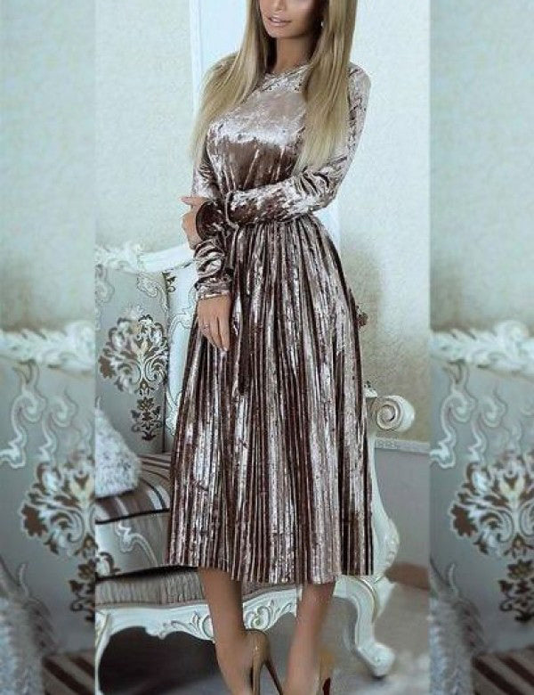 New A-Line Long Sleeve Belted Solid Velvet Pleated Midi Dress