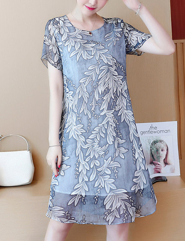 New A-line Round Neck Short Sleeve Printed Chiffon Midi Dress