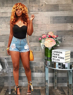 New Arrival Women High Waist Riped Denim Shorts