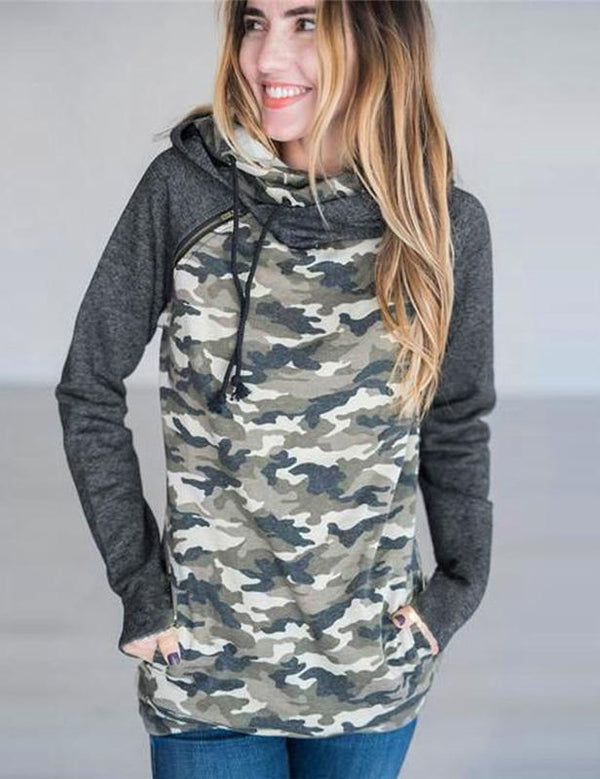 New Autumn Side Zipper Long Sleeve Hooded Casual Sweatshirt