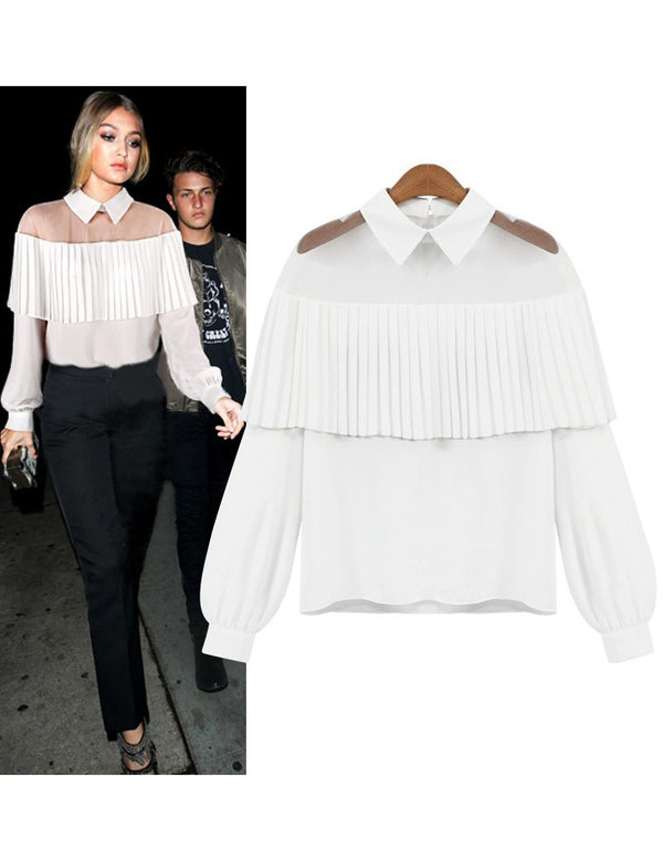 New Collar Cape Shoulder Pleat Long Sleeve Chiffon Top