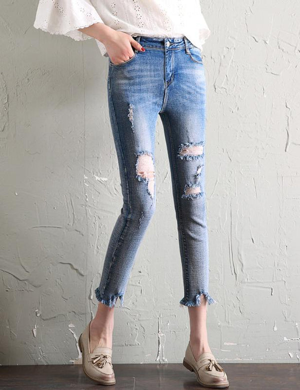New Fringed Nine Points Slim Elastic Light Blue Jeans