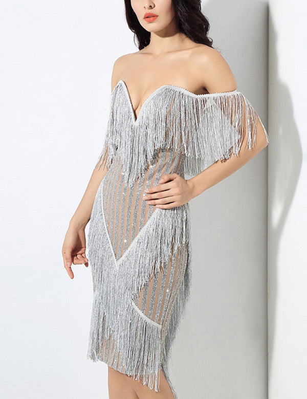 New Fringed off Shoulder Backless Gorgeous Bodycon Midi dress