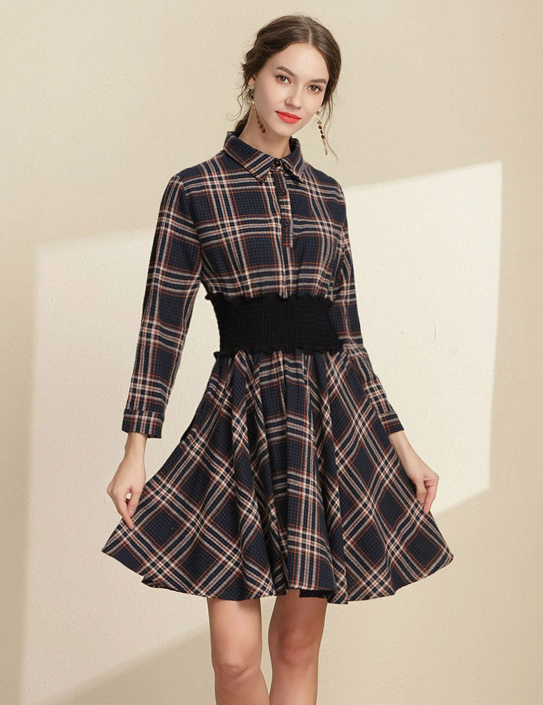 New Lapel Elastic Waist Navy Plaid Long Sleeved Casual Midi Dress